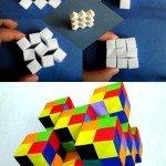 Модульні рухливі кубики орігамі Сонобе (2 моделі збірки)