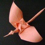 Орігамі Журавлик з трояндою за схемою Kamiya Satoshi